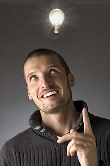 Man with lightbulb above his head